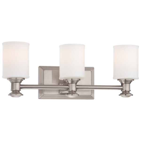 Harbour Point Brushed Nickel Three Light Bath Fixture, image 1