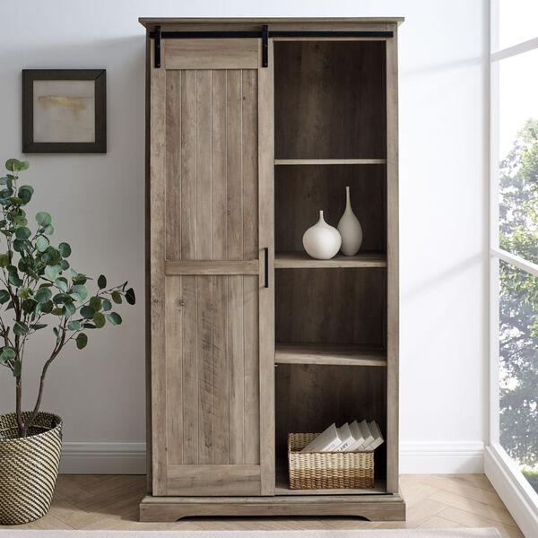 Barn Door Grey Wash Storage Cabinet, image 1