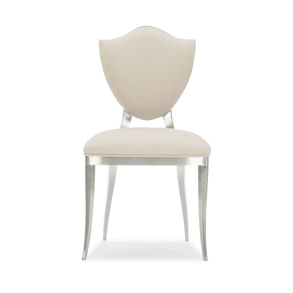 Caracole Classic Lightly Brushed Chrome and Beige Shield Me Chair, image 5