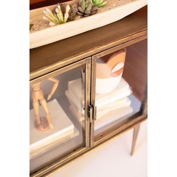 Antique Brass Glass Two Door Cabinet, image 2