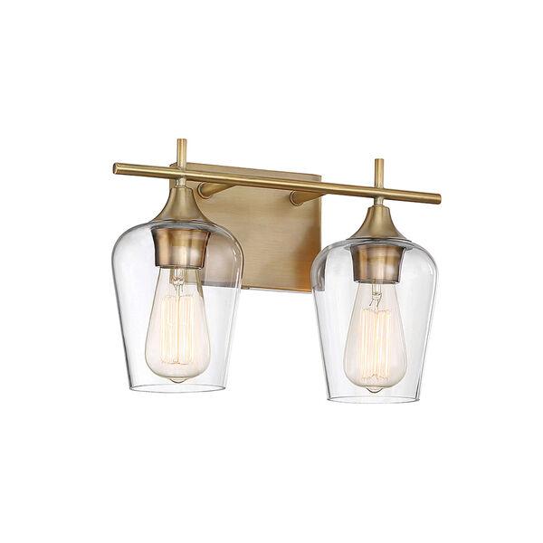 Octav Warm Brass 14-Inch Two-Light Bath Vanity, image 2