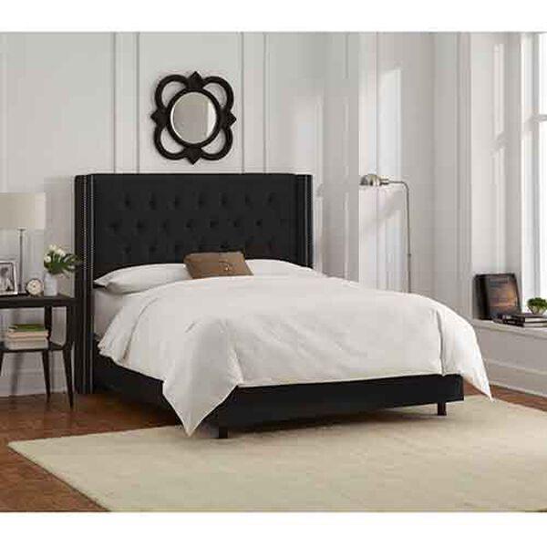 Velvet Black Diamond Tufted Wingback Queen Bed, image 2