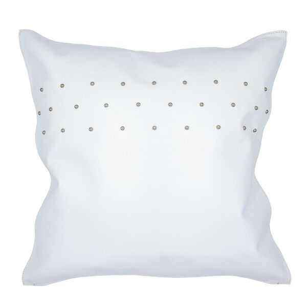 White 20 In. X 20 In. Studded Leather Throw Pillow, image 1