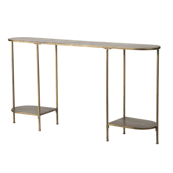 Antique Gold Oval Console Table with Under Tier Shelf Ends, image 1