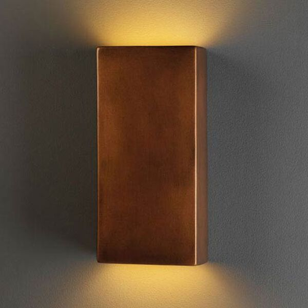 Ambiance Antique Copper Large Rectangle Two-Light Bathroom Wall Sconce, image 1