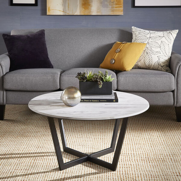 Danica White Faux Marble Coffee Table, image 6