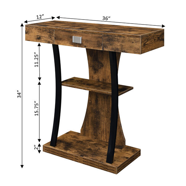 Newport Harri Barnwood and Black One Drawer Console Table with Shelves, image 5