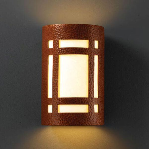 Ambiance Hammered Copper Small Craftsman Window Bathroom Wall Sconce, image 1
