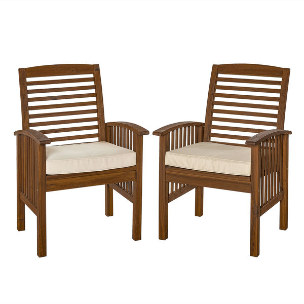 Dark Brown Acacia Patio Chairs with Cushions (Set of 2), image 3