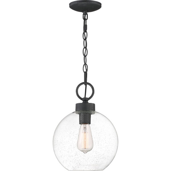 Barre Grey Ash 10-Inch One-Light Outdoor Hanging Lantern with Clear Seedy Glass, image 1