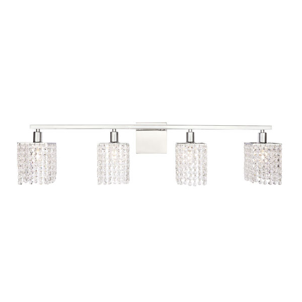 Phineas Chrome Four-Light Bath Vanity with Clear Crystals, image 1
