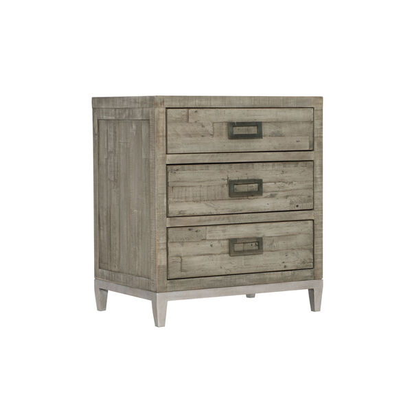 Glazed Silver and Brown 26-Inch Loft Shaw Nightstand, image 1