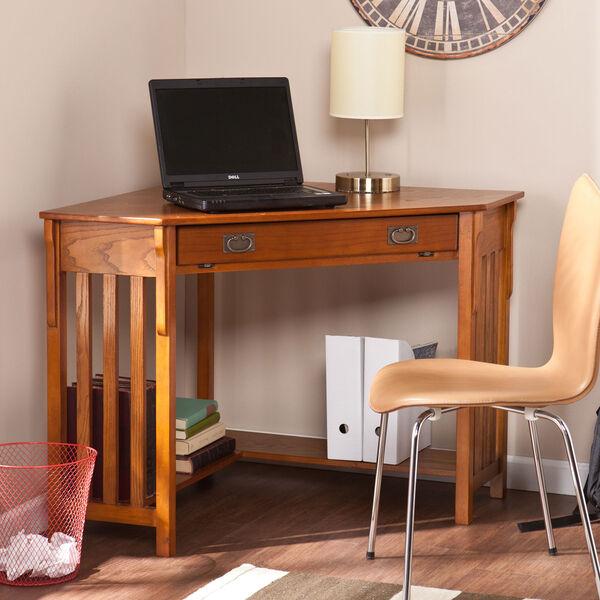 Oak Corner Computer Desk, image 1