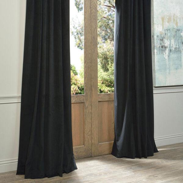 Signature Warm Black Blackout Velvet Pole Pocket Single Panel Curtain, 50 X 108, image 6