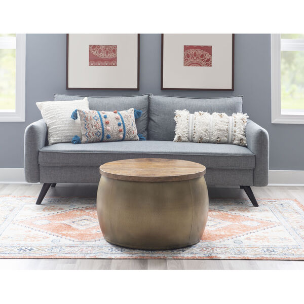 Leah Gold Large Storage Drum with Wooden Lid, image 6
