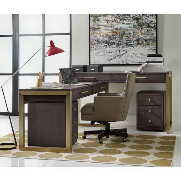 Curata Dark Wood and Gold Short Left, Right, Freestanding Desk, image 3