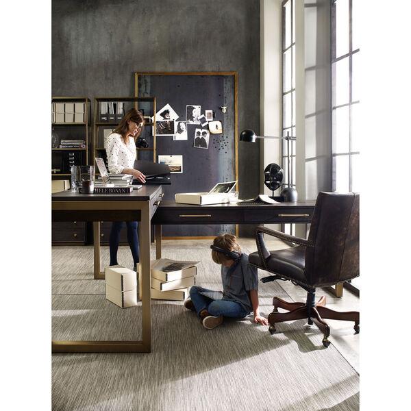 Curata Dark Wood and Gold Short Left, Right, Freestanding Desk, image 4