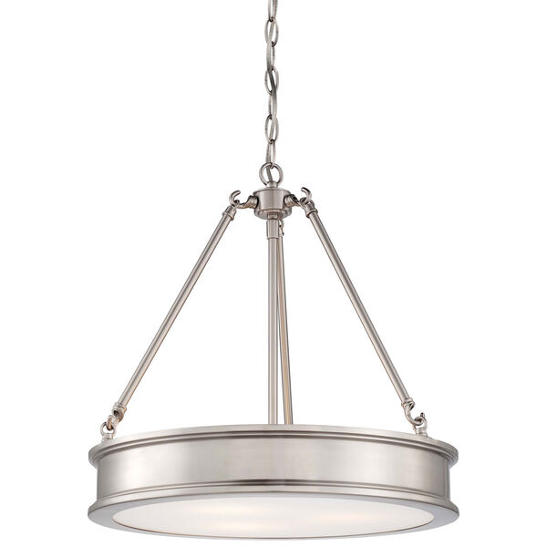 Harbour Point Brushed Nickel Three Light Pendant, image 1