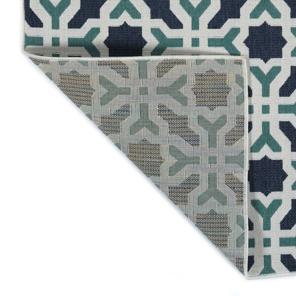 Puerto White and Blue Pattern Indoor/Outdoor Rug, image 3