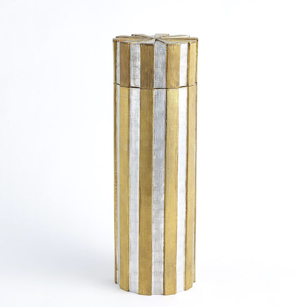 Nickel and Brass 6-Inch Metal Vertical Stripe Box, image 1