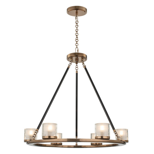 Library Library Brass Six-Light LED Chandelier, image 1