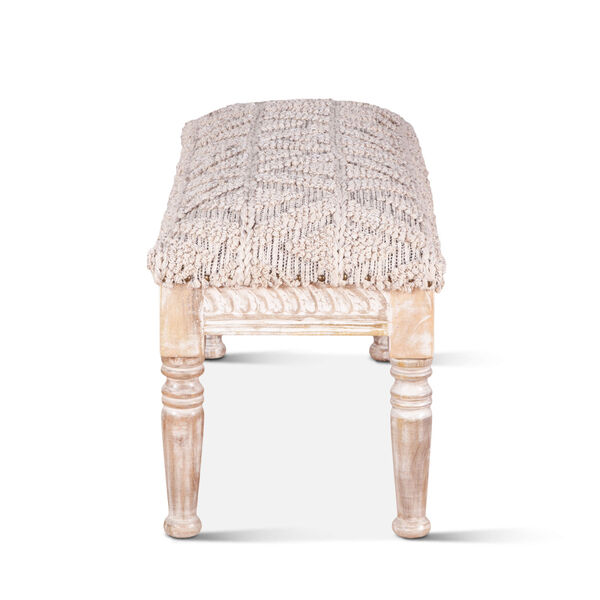 Algiers Off White and Whitewash Accent Bench, image 4