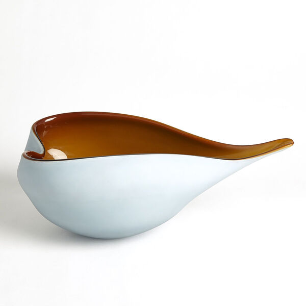 Frosted Blue and Amber 10-Inch Decorative Bowl, image 6