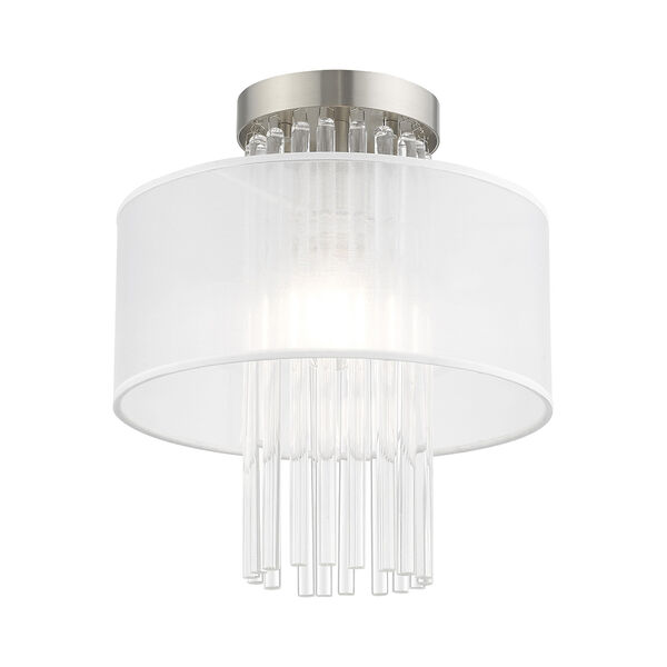Alexis Brushed Nickel 11-Inch Ceiling Mount Transparent Crystal Rods Hand Crafted Translucent Fabric Shade, image 3
