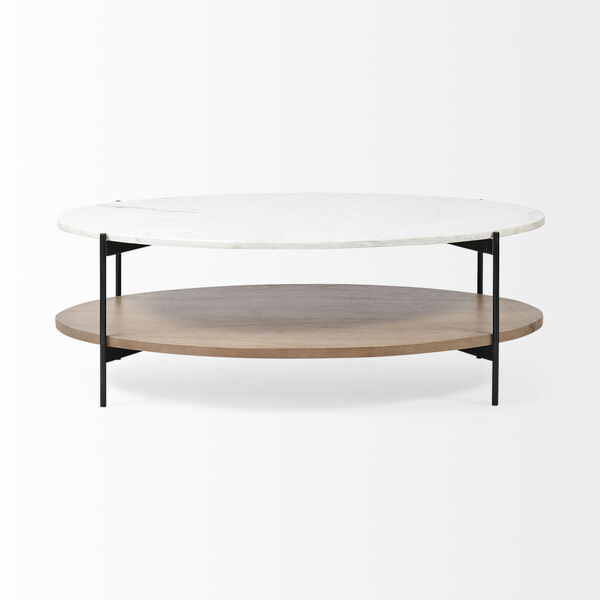Larkin I Black and White Oval Marble Top Coffee Table, image 2