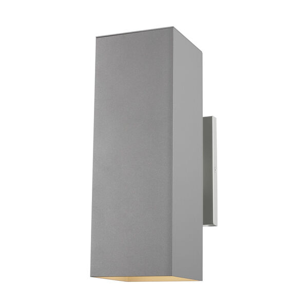 Pohl Painted Brushed Nickel Two-Light Outdoor Wall Sconce with Tempered Glass Shade Energy Star, image 1
