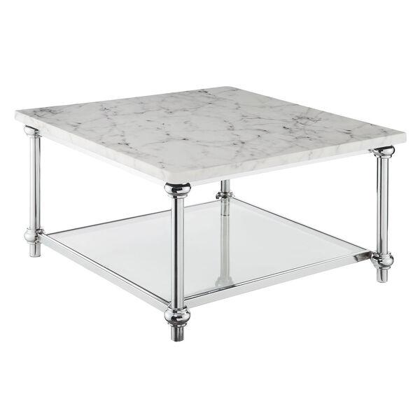 Roman II Faux White Marble Chrome Square Coffee Table, image 1
