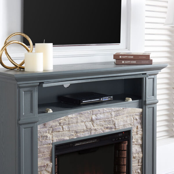 Seneca Cool Slate Gray Electric Media Fireplace with Weathered Stacked Stone, image 3