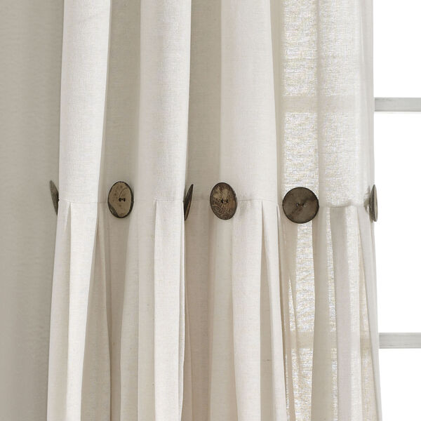 Linen Button Off White 40 x 95 In. Single Window Curtain Panel, image 3