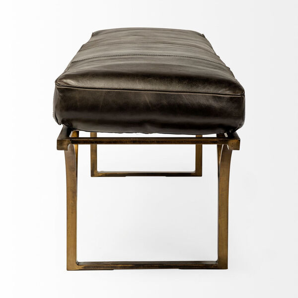 Jessie Black and Gold Bench with Genuine Leather Seat, image 3
