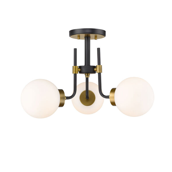Parsons Matte Black and Olde Brass Three-Light Semi Flush Mount, image 4