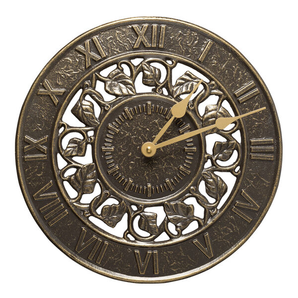 French Bronze Ivy Silhouette Clock, image 1