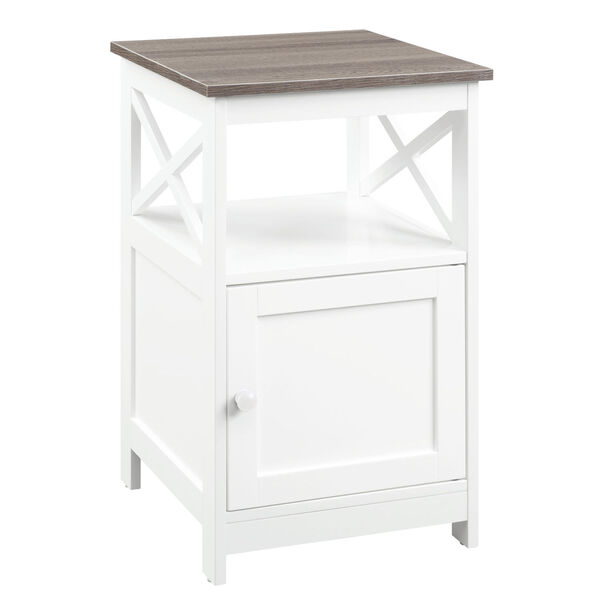 Oxford Driftwood and White End Table with Cabinet, image 2