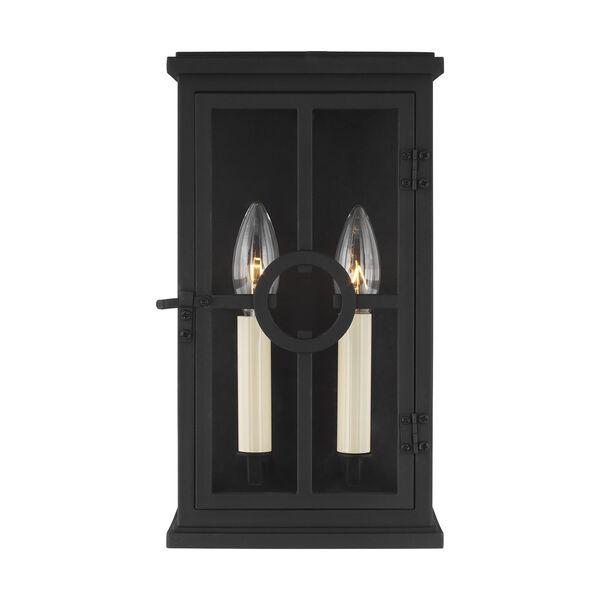 Belleville Textured Black Two-Light Outdoor Wall Lantern, image 1