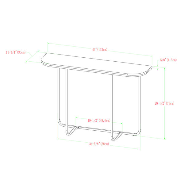 White Faux and Gold 44-Inch Curved Entry Table, image 6