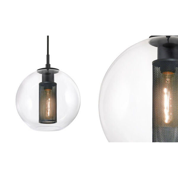 Tribeca 10 Inch One-Light - Textured Black with Clear Glass - Pendant, image 1
