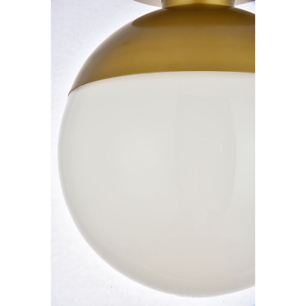 Eclipse Brass and Frosted White 12-Inch One-Light Semi-Flush Mount, image 6