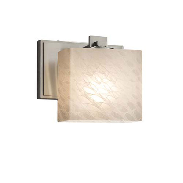 Fusion - Era Brushed Nickel One-Light Wall Sconce with Rectangle Weave Shade, image 1
