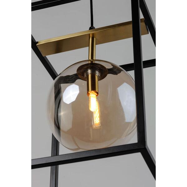 Fluid Black and Satin Brass LED Single Pendant, image 4