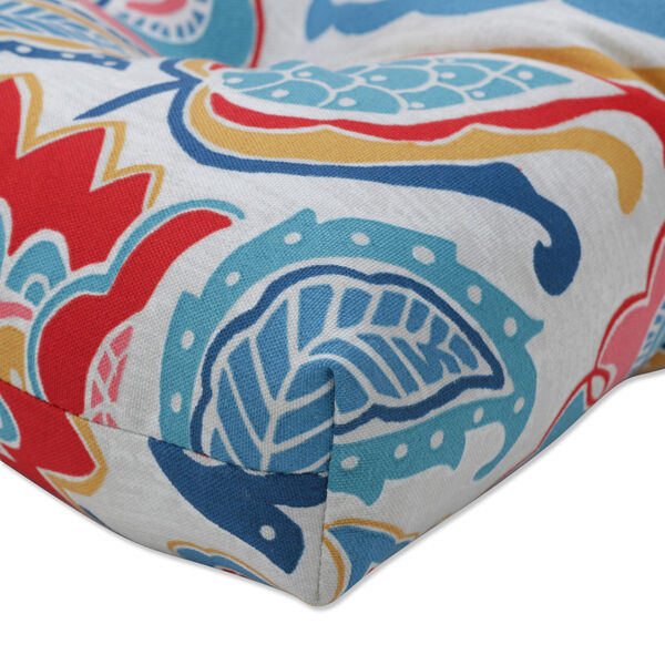 Moroccan Blue Red Yellow Seat Cushion, Set of Two, image 2