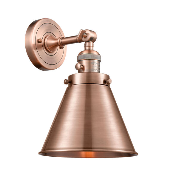 Appalachian Antique Copper One-Light Wall Sconce High-Low Off Switch, image 1