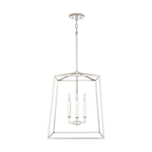 Thea Polished Nickel 71-Inch Four-Light Foyer Pendant, image 1