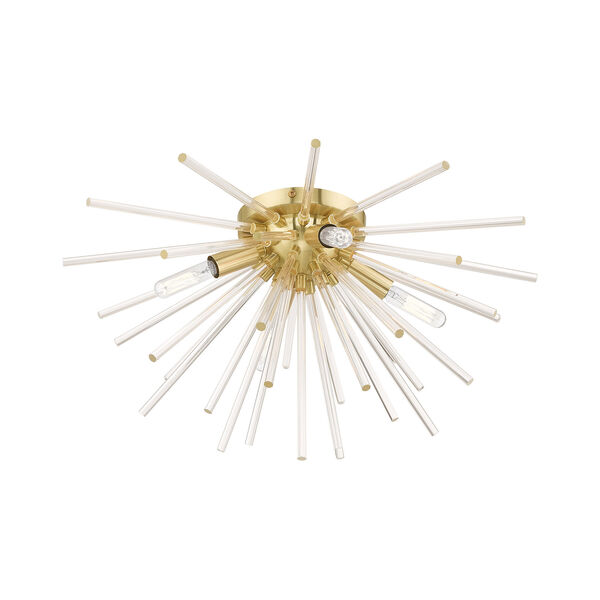 Utopia Satin Brass 20-Inch Four-Light Ceiling Mount with Clear Crystal Rods, image 4
