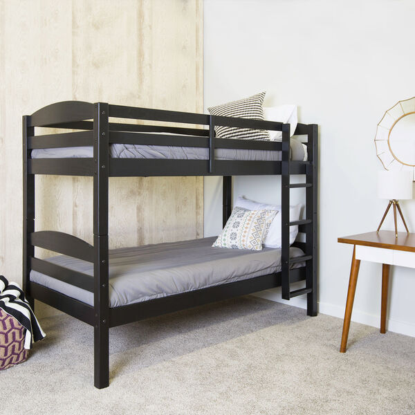 Solid Wood Bunk Bed - Black, image 1