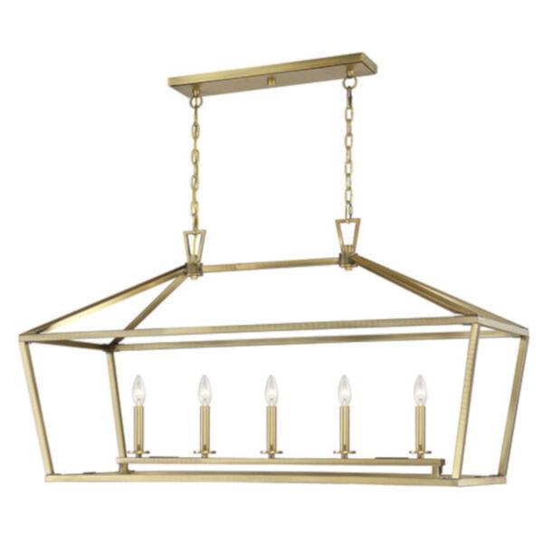 Anna Polished Brass 16-Inch Five-Light Pendant, image 3