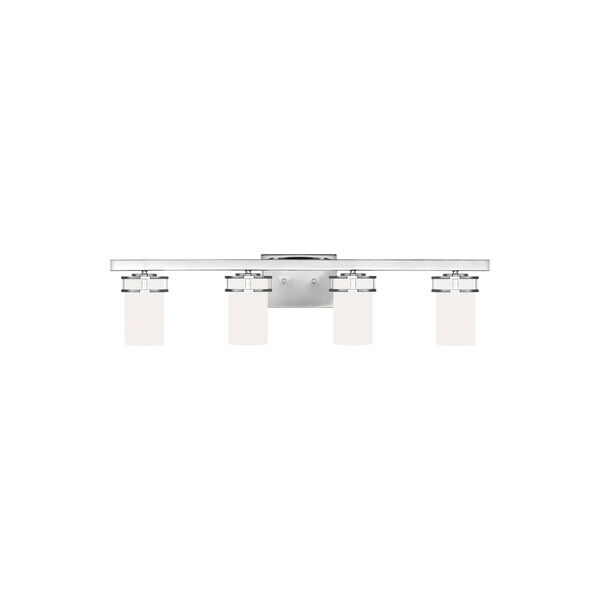 Robie Chrome Four-Light Bath Vanity with Etched White Inside Shade, image 1